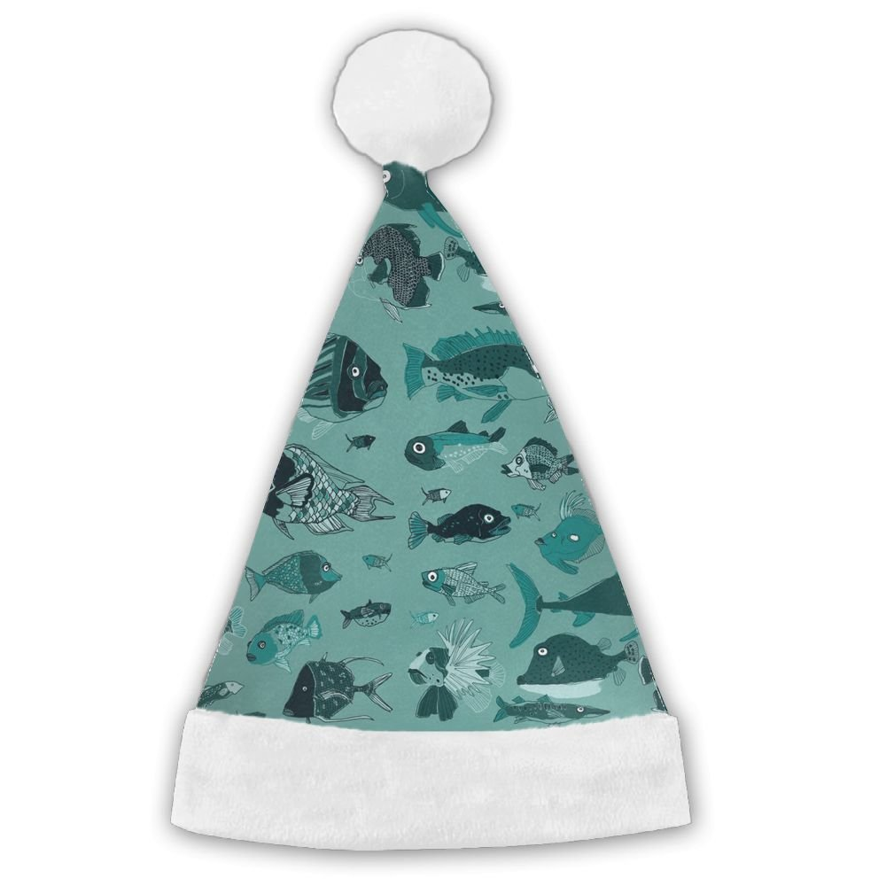 Something Fishy Traditional Christmas Santa Hat For Adult Children High School Boys And Girls