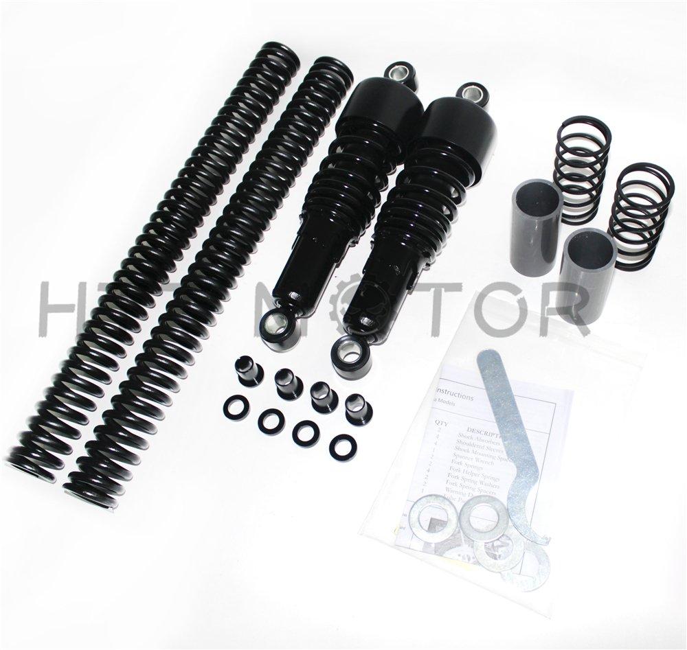 HTTMT LS007 Fork Springs Lowering Kit 2006-2014 Harley Dyna FXD Compatible with Black Slammer Shocks