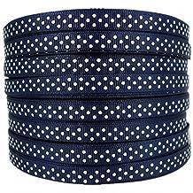 50yd 3/8white Swiss Dot Printed Navy Blue Grosgrain Ribbon for DIY by Dakota Girl