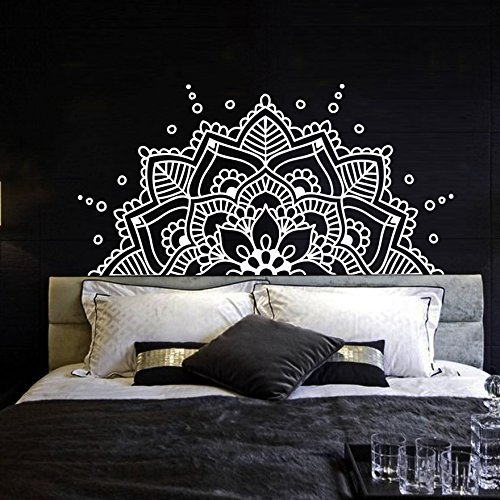 Half mandala wall decal vinyl sticker headboard master bedroom boho bohemian decor yoga studio namaste ornament