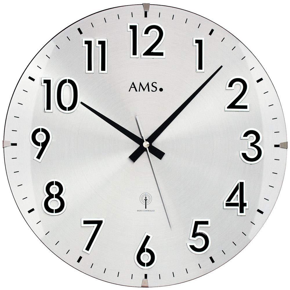 AMS - Wanduhr - Funk - Funkwanduhr - analog - rund mit Metall-Zifferblatt und Glas