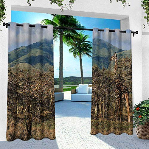 Zoo, for Patio Light Block Heat Out Water Proof Drape,Giraffe Among Trees Prickly Acacias Grazing Mountain Africa Safari Savanna, W108 x L108 Inch, Green Blue Pale Brown