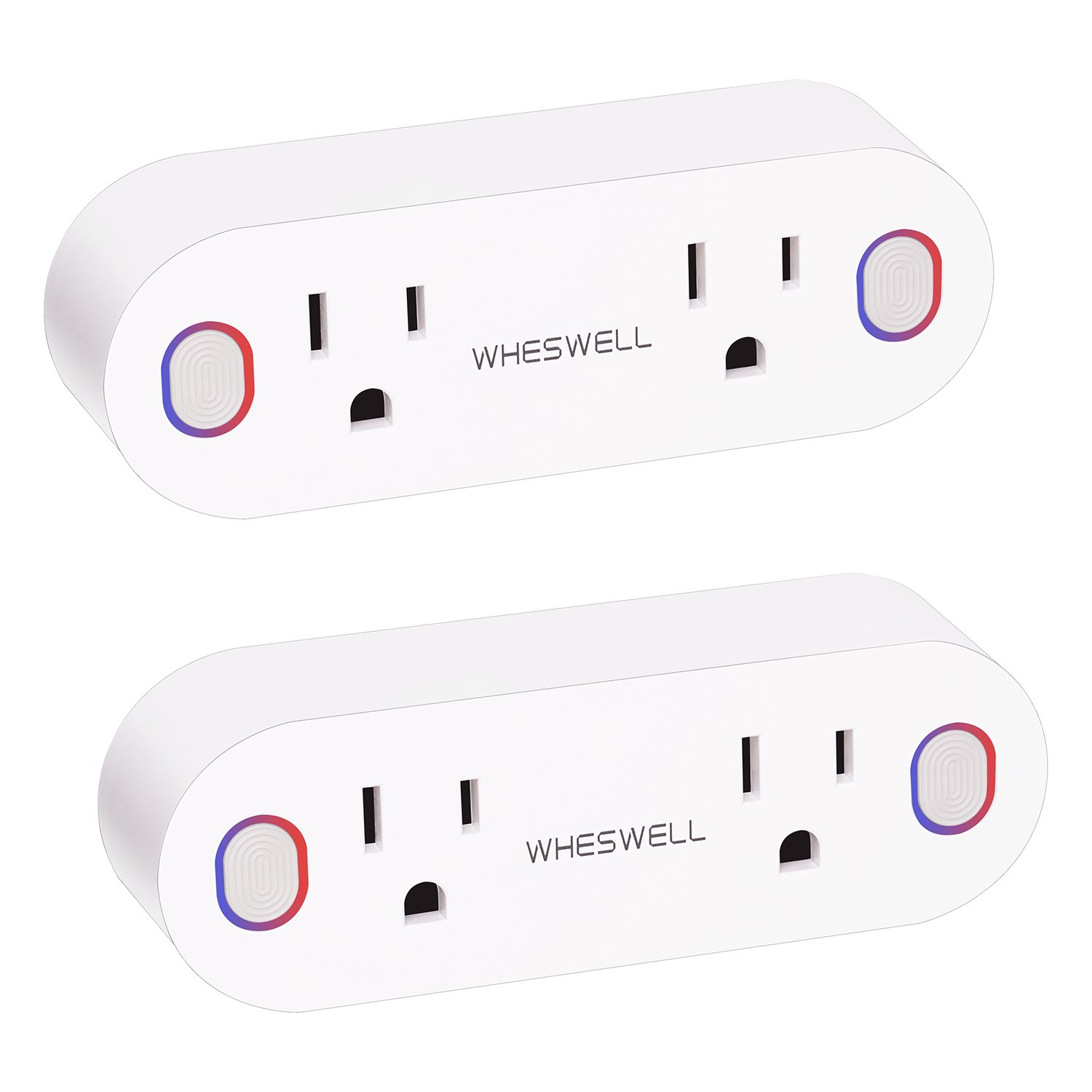 Smart Plug WiFi Mini Outlets Works with Amazon Alexa, Google Home and IFTTT, Wheswell SP1 Smart Sockets with Energy Monitoring and Timer, Dual Outlets Individual/Group Control (2 Pack) by WHESWELL
