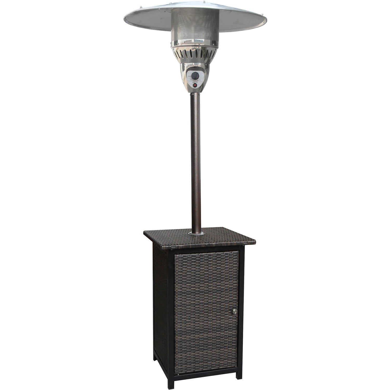 Hanover 41000 BTU Square Wicker Propane Patio Heater, 7', Brown/Hammered Bronze