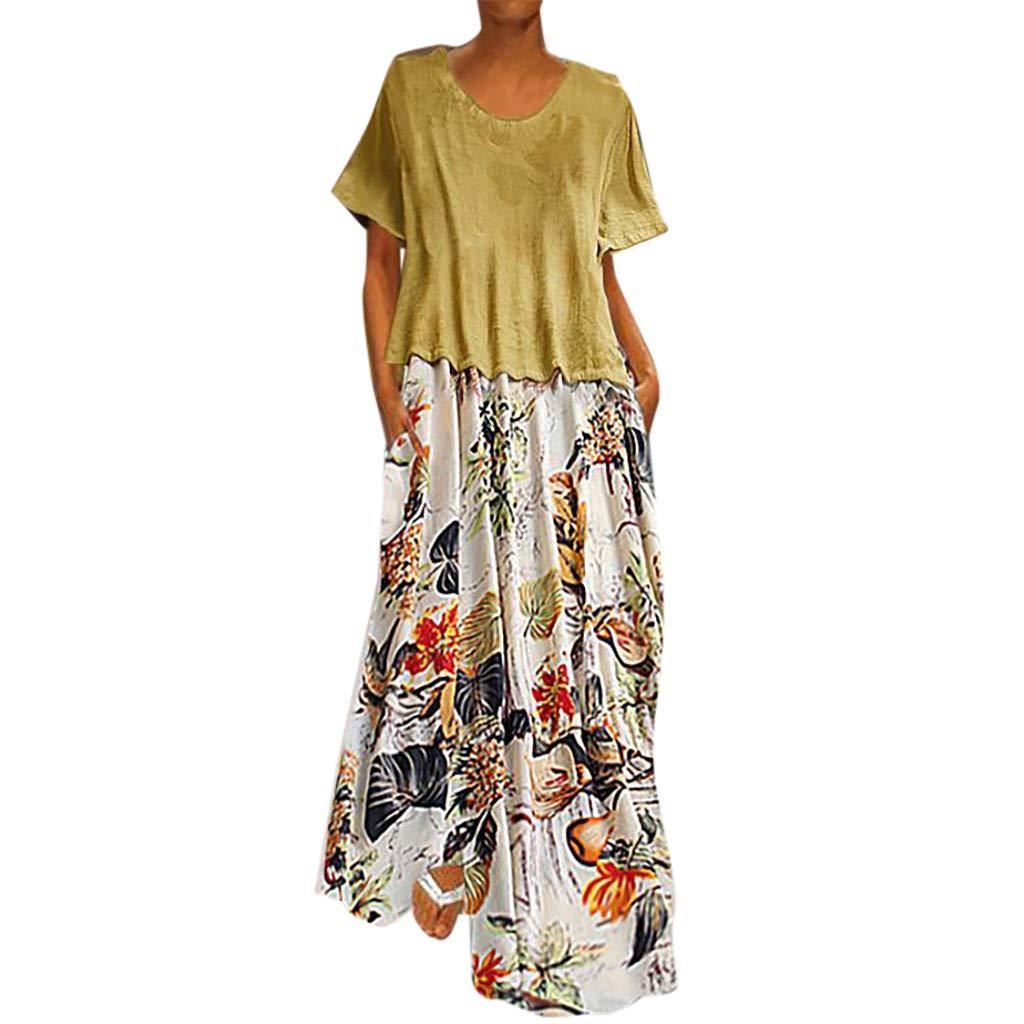 Barkoiesy Robe Femme Grande Taille Robe Été Casual Maxi Robe Longue Femme Combinaison Robe Vintage Imprimé Robe en Vrac à Poche Col Rond
