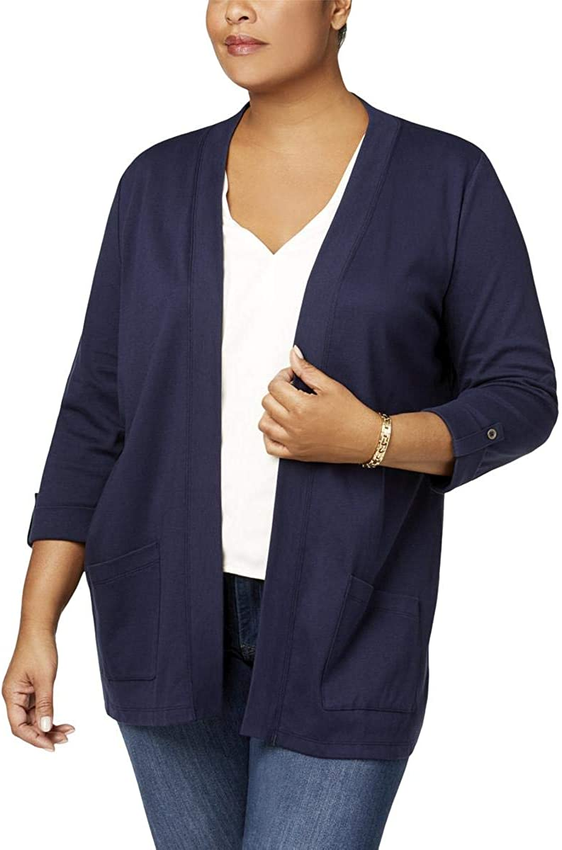 Karen Scott Womens Plus Solid Cuff Sleeves Cardigan Top