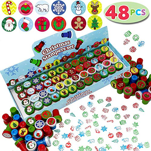JOYIN 48 Pieces Christmas Assorted Stamps Kids Self-Ink Stampers (12 Different Designs, Plastic Stamps) for Christmas Party Favors, Stocking Stuffers, Kids Crafts, School Prizes and Goodies -