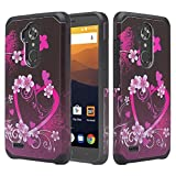 zte blade 3 case - GALAXY WIRELESS Compatible for ZTE Max XL Case, ZTE Blade Max 3 Case, ZTE Max Blue 4G LTE (Z986DL) Hybrid Dual Layer Defender Protective Case Cover ForZTE Max XL/ Z Max Pro 2, Hot Pink Hearts