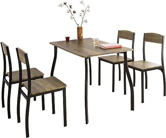 Sobuy Set De 1 Table A Manger Et 4 Chaises Lot Table Et Chaises De Bar