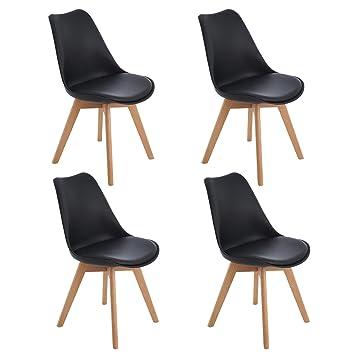 Eggree 4er Set Esszimmerstühle Skandinavisch Küchenstuhl Stühle Modern Mit Massivholz Eiche Bein Und Kunstlederkissen Schwarz