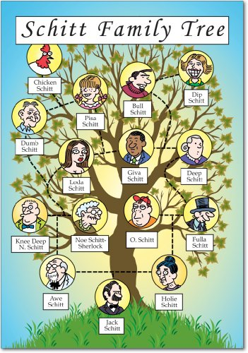 Adult Greeting Card - Schitt Family Tree - Hilarious Birthday Greeting Card with Envelope (4.63 x 6.75 inch) - Adult Humor, Appreciation Card for Family Birthdays - Funny Bday Gratitude Notecard Stationery 4250