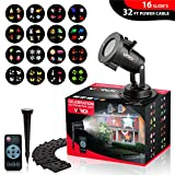 VARDI Celebration Led Projector Light for Year Round -16 Slides, Remote Control, 32 ft Cable, Waterproof Landscape Lights, In/Outdoor, Snowflake, Family/Woman's Day,Birthday, Easter,Parties,Christmas