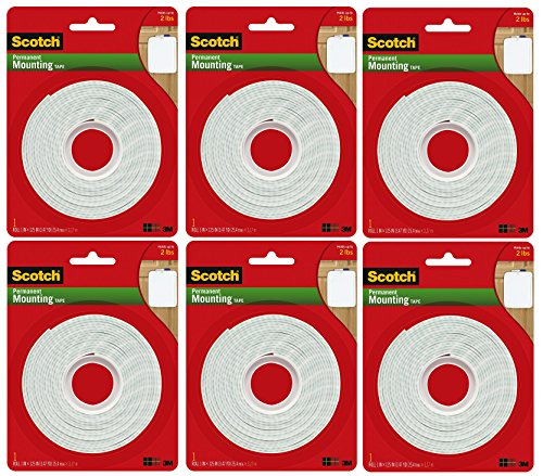 (Scotch Permanent Mounting Tape, 1 Inch x 125 Inches, 6-PACK)