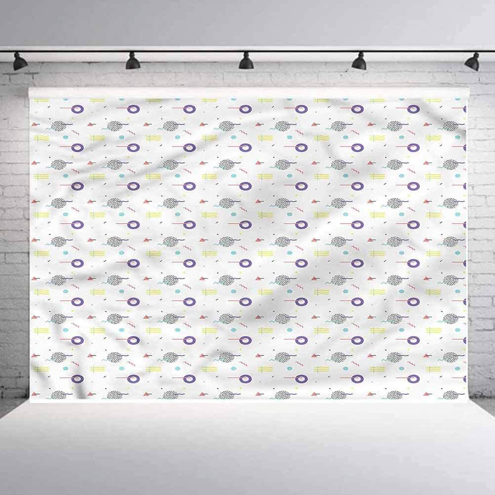 8x8FT Vinyl Photography Backdrop,Geometric,Retro Style Dots Photo Background for Photo Booth Studio Props
