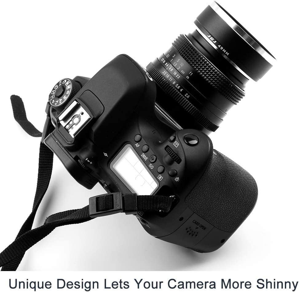 Fotover 62mm Unique Screw Mount Metal Standard Lens Hood with Center Pinch Lens Cap for Canon Nikon Sony Pentax Olympus Fuji Sumsung Leica Camera