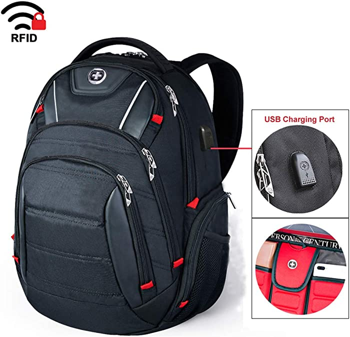 Swissdigital Circuit Laptop Backpack, Business Travel Backpack with USB Charging Port (J14-BR)