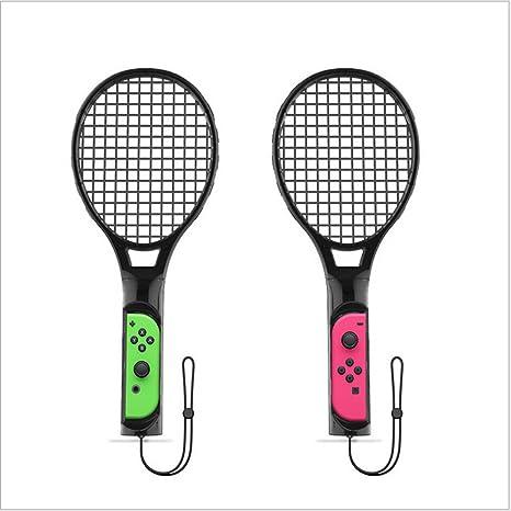 Raqueta de tenis para Nintendo Switch, FYOUNG Somatosensory Joy Con Gaming Controlador Grip Raquetas de tenis para Mario Tennis Aces Game, Nintendo Switch Gameplay, un par de raquetas (2 * negro): Amazon.es: