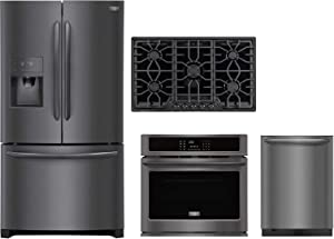 """Frigidaire 4-Piece Kitchen Package with FGHD2368TD 36"""" Fridge, FGGC3645QB 36"""" Natural Gas Cooktop, FGEW3065PD 30"""" Elec. Single Wall Oven and FGID2479SD 24"""" Built in Dishwasher in Black Stainless Steel"""