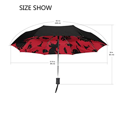 Mejalkrae Umbrella Halloween Witch Tri-fold Umbrellas Windproof, Ergonomic Handle, Reinforced Canopy, Auto Open/Close Multiple Colors: Sports & Outdoors