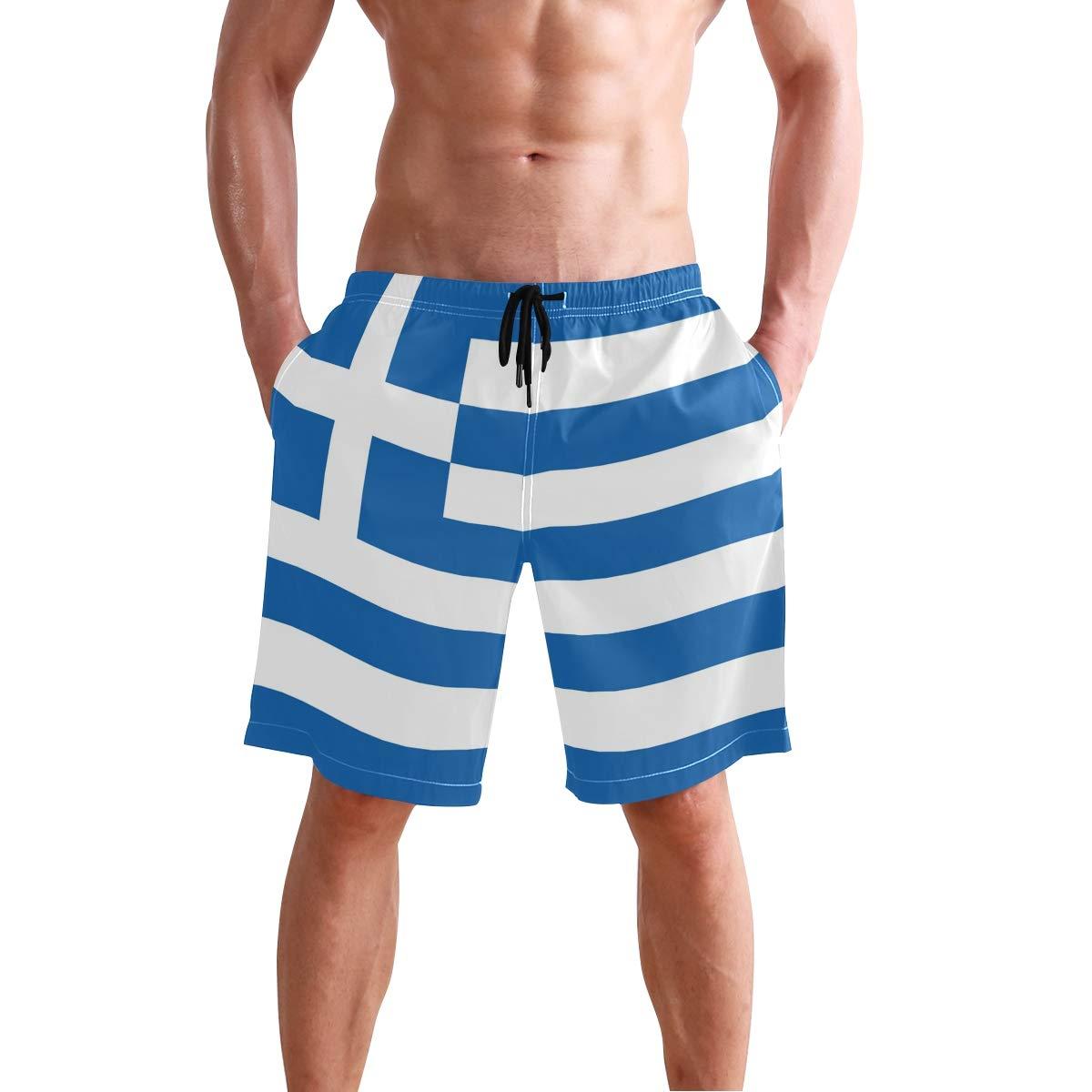 Chinein Mens Slim Fit Quick Dry Short Swim Trunks with Mesh Lining Greek Flag