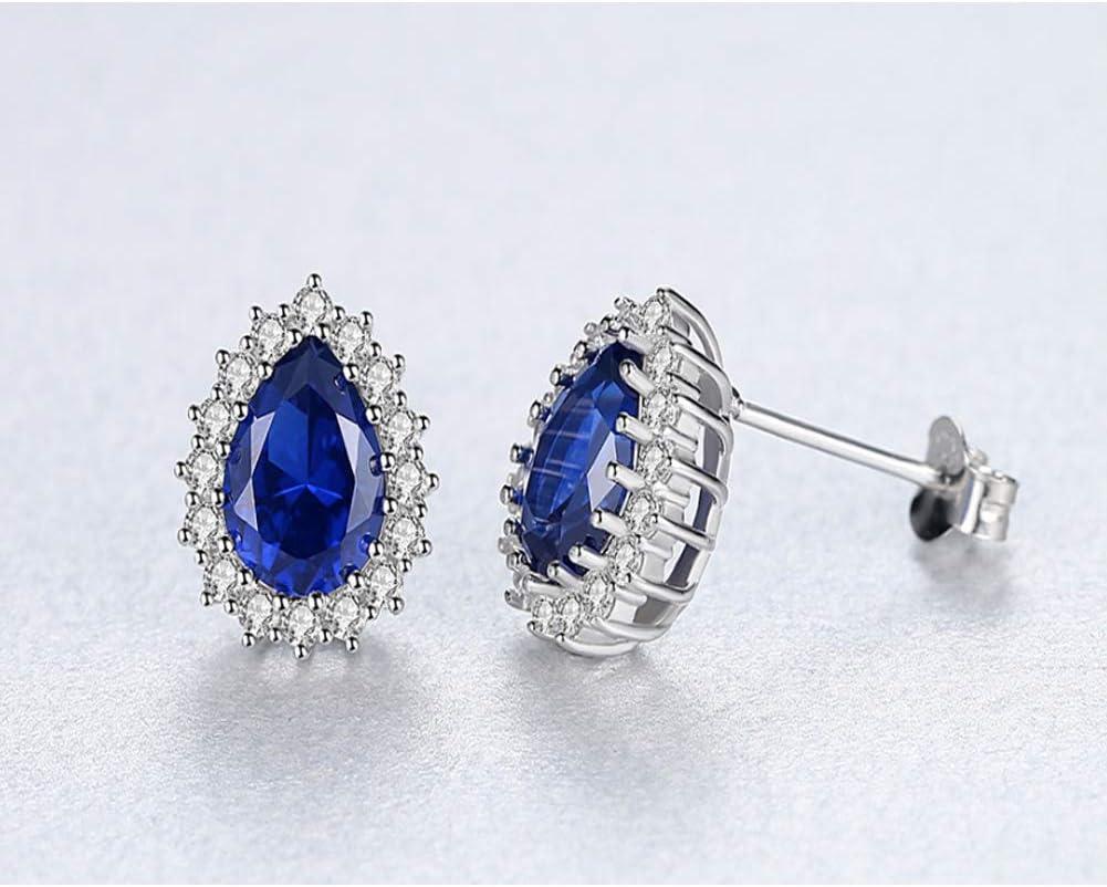 Princesa Diana William Kate Peridoto natural Zafiro Esmeralda Marrón claro Pendientes de piedras preciosas Plata de ley 925 Pendientes Joyas para mujeres-blue-One size