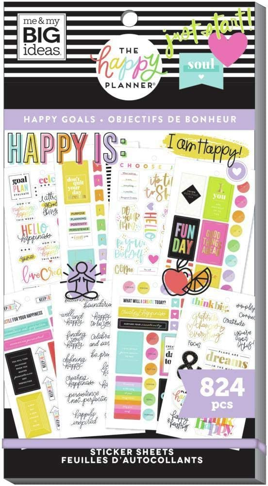 The Happy Planner Sticker Value Pack - Scrapbooking Supplies - Happy Goals Theme - Multi-Color - Great for Projects, Scrapbooks & Albums - 30 Sheets, 824 Stickers Total