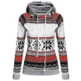 JURTEE Women's Coats Ladies Autumn Winter Warm Christmas Printed Hoodies Sweatshirt Tops Jumper Pullover