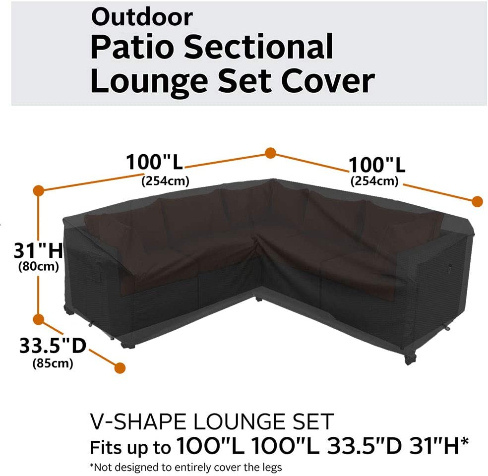 Heavy Duty Outdoor Sectional Sofa Cover, 2020 Upgrade 100% Waterproof 600D Patio Sectional Couch Cover, Lawn Patio Furniture Cover (V-Shaped Storm Gray): Kitchen & Dining