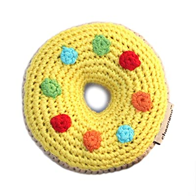 Cheengoo Organic Hand Crocheted Bamboo Rattle - Yellow Donut: Toys & Games