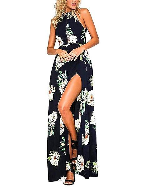 GHYUGR Mujer Vestidos Largo de Playa Fiesta Halterneck Escotado por Detrás Boho Floral Vestido Dividido Vacaciones