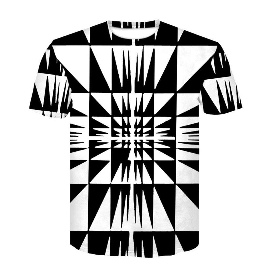 Black and White Vertigo Hypnotic Printing Unisex Funny Short Sleeved Tees Tops
