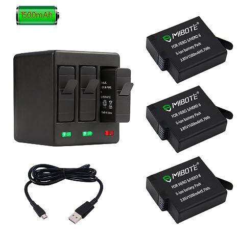 MIBOTE Batería Recargable (3 Pack) y Triple Cargador para ...