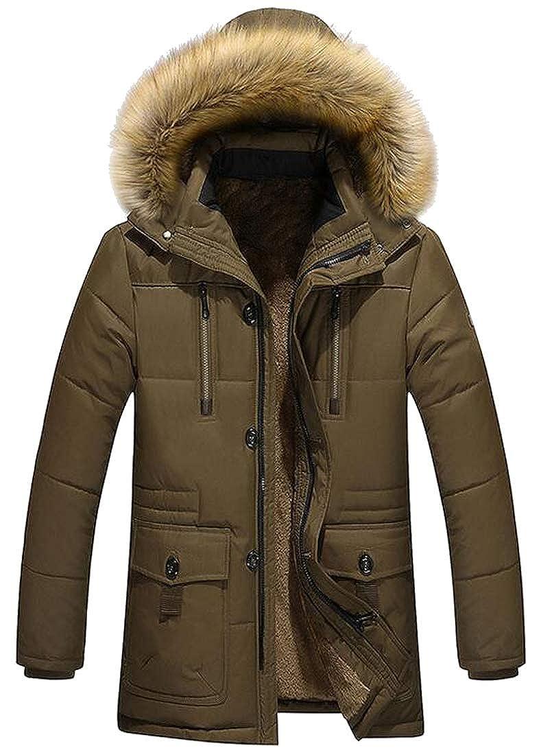Jotebriyo Men Plus Size Faux Fur Hoodies Faux Fur Lined Warm Down Quilted Coat Jacket Outwear