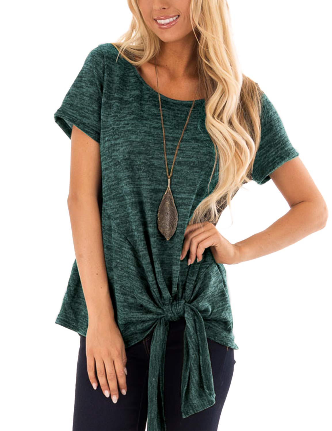 Casual round neck short sleeve tie t shirt