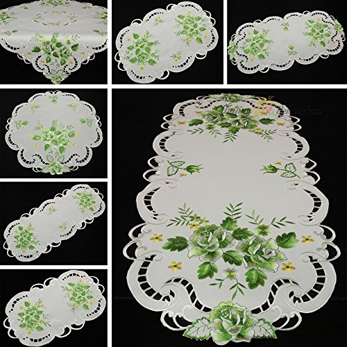 Quinnyshop Doily Embroidered with Green Rose 23-Inch (60 cm) Round Satin Look Polyester, White