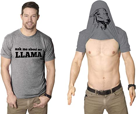 Ask Me About My Llama T Shirt Funny Animal Flip Shirt