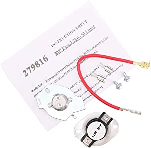 279816 Dryer Thermostat Thermal Cut Off Fuse Repair Kit Replacement for Whirlpool Kenmore Dryer, Simple Instructions Included. Replaces 3399848 3977393 AP3094244