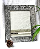 Abbie Home Retro Chic Silver Hollow-out Metal Picture Frame for Photo Display, 8x10 Inch