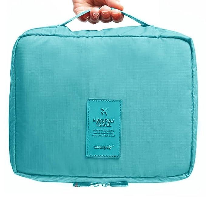 Okayji Polyester Travel Organizer Bag Case - Blue Bathroom Cosmetic Organizers at amazon
