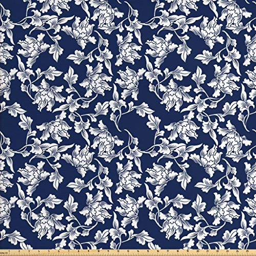Ambesonne Navy Blue Fabric by The Yard, Floral Arrangement Botanic Foliage Pattern Japanese Composition Eastern, Decorative Fabric for Upholstery and Home Accents, 3 Yards, Dark Blue White