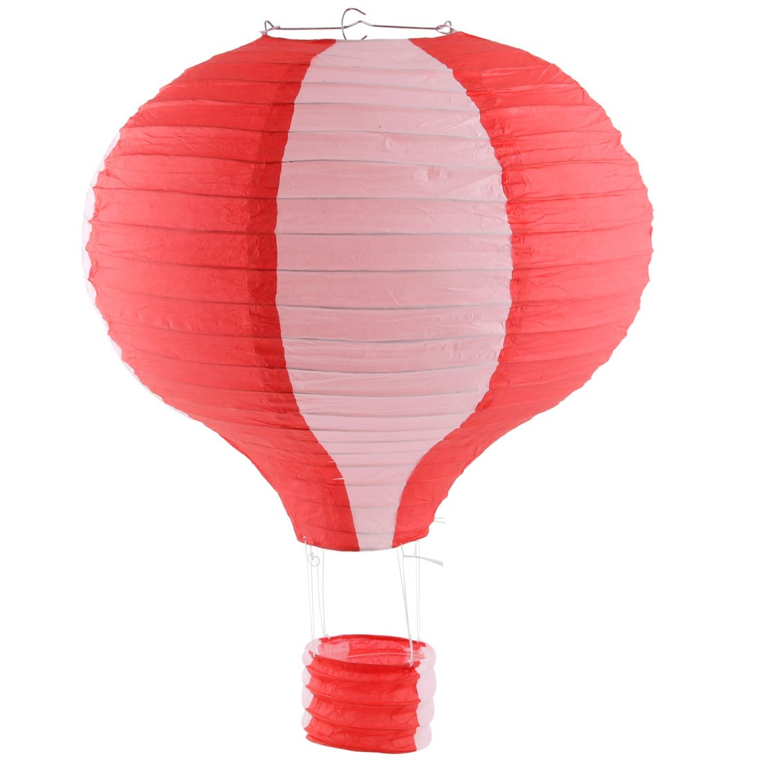 uxcell Paper Household Party Lightless Hanging DIY Decor Hot Air Balloon Lantern 16 Inch Dia Red White