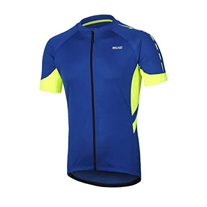 ARSUXEO Men s Short Sleeves Cycling Jersey Bicycle MTB Bike Shirt 636 Blue  Size S 57a41dcb5
