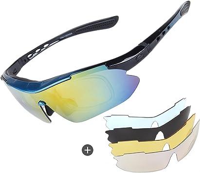 Gafas de sol polarizadas para ciclismo, para hombre, para ciclismo, críquet, deportes, con 4 lentes intercambiables, protección UV400 para montar en bicicleta, esquí, correr, pescar, Unisex adulto, azul: Amazon.es: Deportes y aire