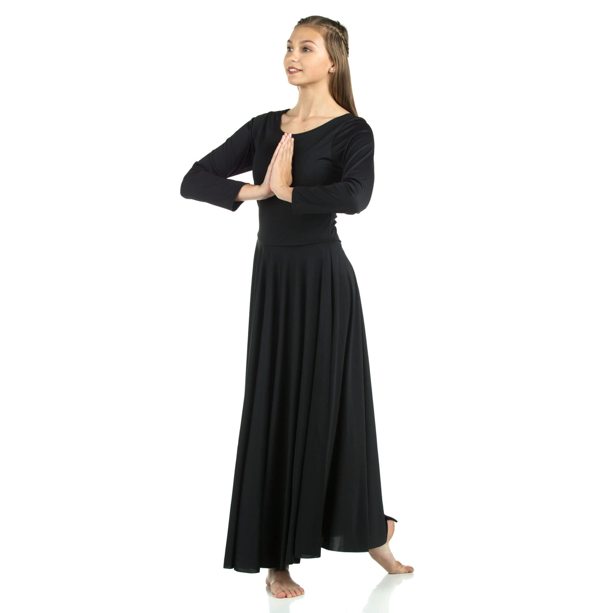 Danzcue Womens Praise Loose Fit Full Length Long Sleeve Dance Dress, Black, X-Large by Danzcue