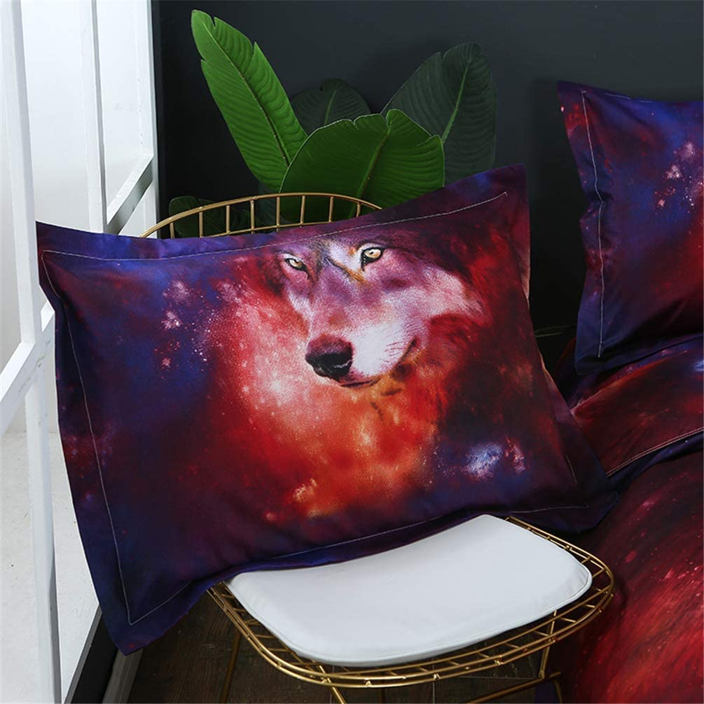 No Comforter,No Fitted Sheet Ammybeddings 4 Pieces Kids Galaxy Wolf Bedding Set Twin 3D Purple Space Wolf Bed Set 1 Duvet Cover 1 Flat Sheet 2 Pillow Shams Cool Girls Boys Stylish Bedroom Decor