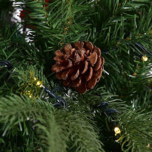 Goplus 7.5Ft Pre-Lit Artificial Christmas Tree Premium Spruce Hinged Tree w/ 540 LED Lights & Pine Cones by Goplus (Image #8)