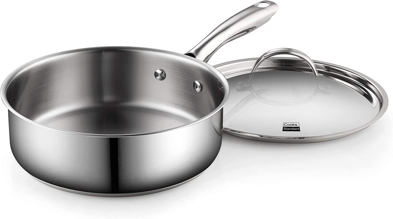 Cooks Standard Classic Stainless Steel Deep Lid 5 Quart/11-Inch Saute Pan, 5 Quart, Silver: Kitchen & Dining