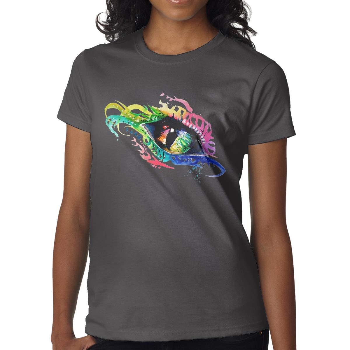Phoenix Rainbow Eye Leisure Sports Short Sleeve Girls Funny Cute Rainbow Color Pat Shirts