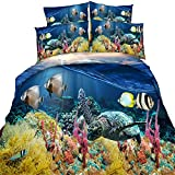 Cheap Comforter Sets Under 50 100% Cotton 3D Printed Bedding Sets Comforter Duvet Covers Under the Sea Fish Turtle Blue for Kids/Adult,3 Pieces/Full Size