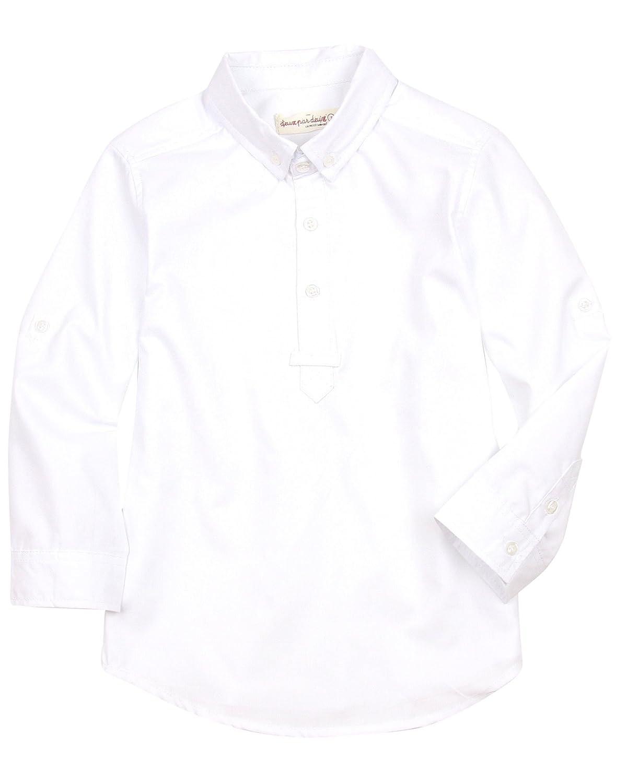 8 Sizes 2-10 Deux par Deux Boys Shirt with Placket White Aristo Kids